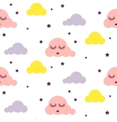 Sleepy clouds girlish seamless pattern vector image