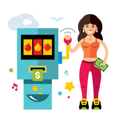 Slot machine and girl game of chance flat vector