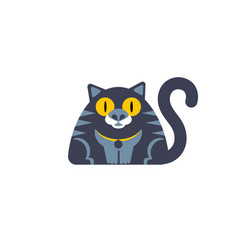 Flat style cat icon wirh big yellow eyes vector