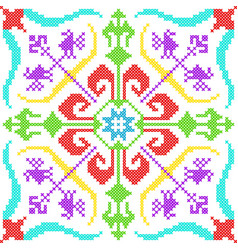Cross stitch embroidery floral design for seamless vector