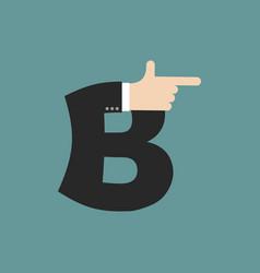 B letter businessman hand font it shows finger vector