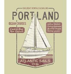 Atlantic ocean sailing vector
