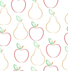 Pears and apples pattern over white background vector