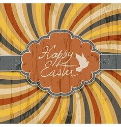 Happy easter retro rays vector