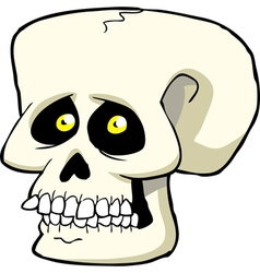 Skull with yellow eyes vector