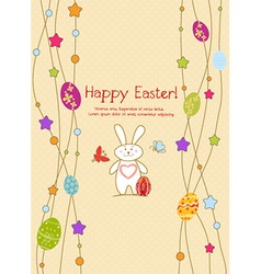 Bunny with eggs vector