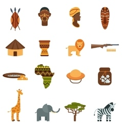 African world flat icons set vector