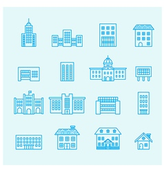 Buildings icon line vector