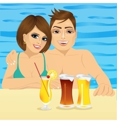 Smiling couple in pool at hotel resort vector