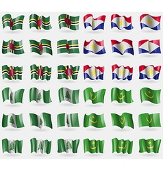 Dominica saba norfolk island mauritania set of 36 vector