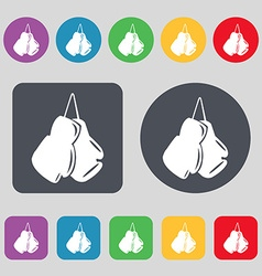 boxing gloves icon sign A set of 12 colored vector image