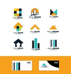 Real estate icon logo set vector