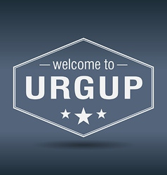 Welcome to urgup hexagonal white vintage label vector