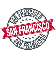 San francisco red round grunge vintage ribbon vector