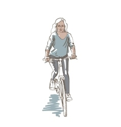 Riding woman sketch vector