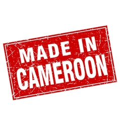 Cameroon red square grunge made in stamp vector