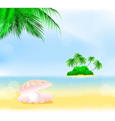 Tropical island pearls vector