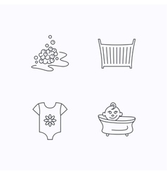 Baby clothes bath and crib icons vector