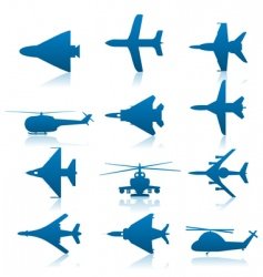 aircraft icons vector image vector image