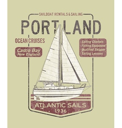 Atlantic ocean sailing vector