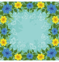 Background flowers and butterflies vector image
