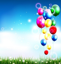 balloons under blue sky and beauty grass vector image vector image