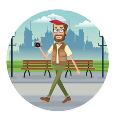 Beard man traveler camera cap park urban vector