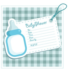 Blue bottle baby shower card vector