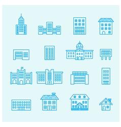buildings icon line vector image vector image