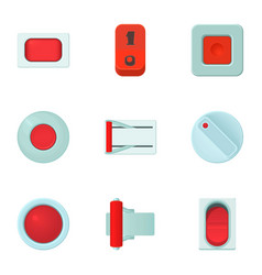 Click button icons set cartoon style vector