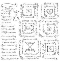 Doodle floral line borderscornersframesVintage vector image