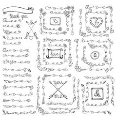 Doodle floral line borderscornersframesvintage vector