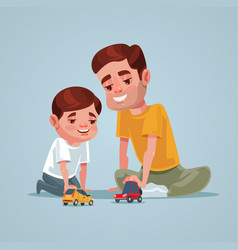 father and son character play toy vector image vector image