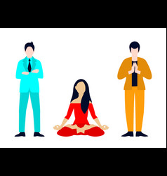 Flat yoga meditation set vector