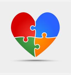 Four color piece puzzle heart valentine love vector