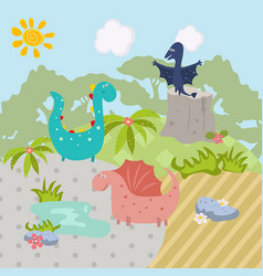 funny cartoon dinosaurs funny cartoon dinosaurs vector image