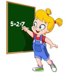 girl writing on blackboard vector image vector image