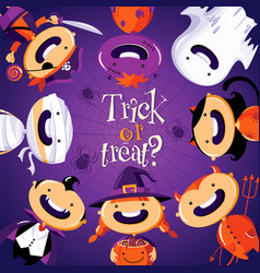 Halloween card with cute cartoon children in vector
