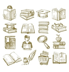 Hand draw books vector