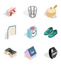 Homelike atmosphere icons set isometric style vector