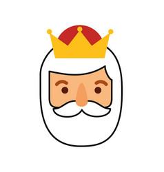 manger wise king face christmas celebration vector image vector image