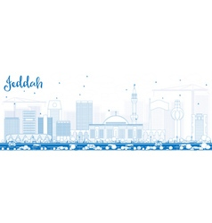 Outline jeddah skyline with blue buildings vector