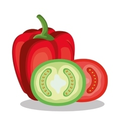 peper and tomato fresh vector image