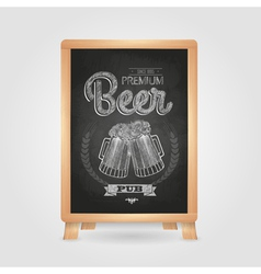 Poster with beer in mag chalk drawing on blackboa vector