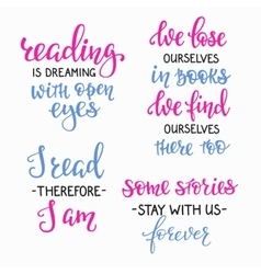 Reading book inspiration typography set vector