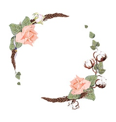 Rose and cotton wreath vector image vector image