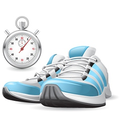 Running shoes and stopwatch vector