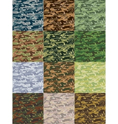 seamless camouflage patterns in 12 colors vector image vector image