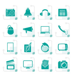 Stylized communication and media icons vector