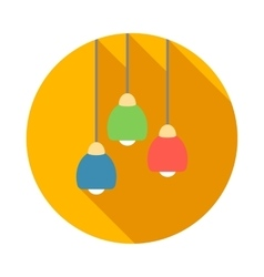 Three color modern ceiling light icon flat style vector image